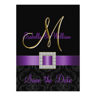Purple Black Damask Gold Initial Save the Date 5.5x7.5 Paper Invitation Card