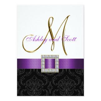 Purple Black Damask Initial Wedding Invite