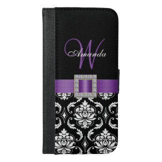 PURPLE, BLACK DAMASK MONOGRAM iPhone 6/6S PLUS WALLET CASE