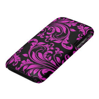 Purple & Black Damask Patterns iPhone 3 Case-Mate Case