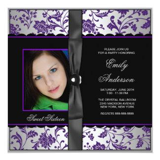 Purple Black Damask Photo Sweet 16 Party Invitation