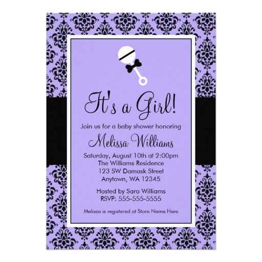 Purple black damask rattle baby shower invitations 5 quot x 7 quot invitation
