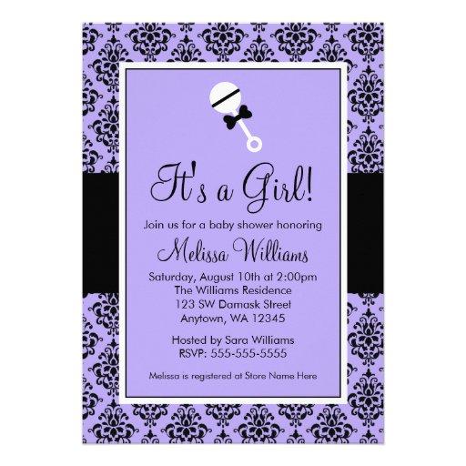 purple black damask rattle baby shower invitations 5 x 7 invitati