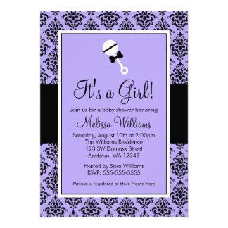 Purple Black Damask Rattle Baby Shower Invitations