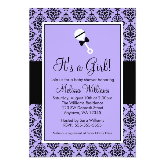 Purple Black Damask Rattle Baby Shower Invitations