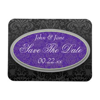 "Purple & Black Damask ""Save The Date"" Magnet"