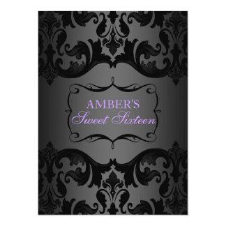 Purple & Black Damask Sweet 16 Birthday Invite