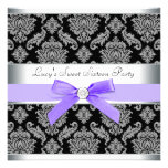 Purple Black Damask Sweet 16 Birthday Party Custom Invitations
