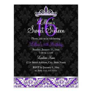 Purple Black Damask & Tiara Sweet 16 Invite
