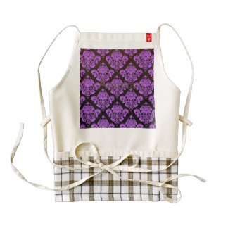 purple,black,damask,vintage,antique,pattern,chic,e zazzle HEART apron