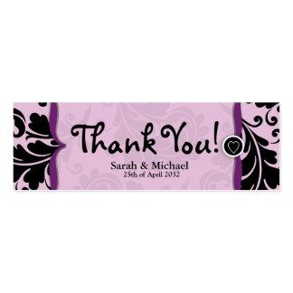 Purple & black damask Wedding favor Gift tag Mini Business Card