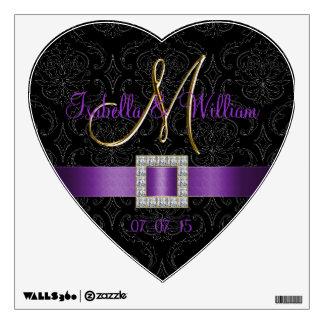 Purple, Black Damask Wedding Heart Wall Decal