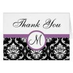 Purple Black Damask Wedding Monogram Thank You Greeting Card