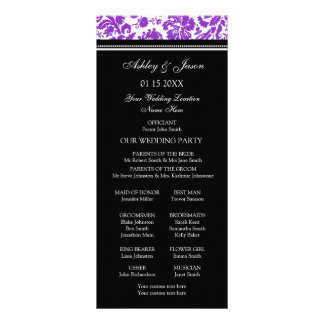 Purple Black Damask Wedding Program