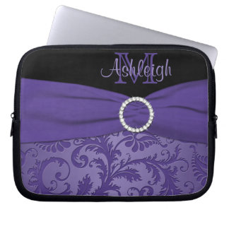 Purple Black Damask with FAUX Ribbon Laptop Sleeve