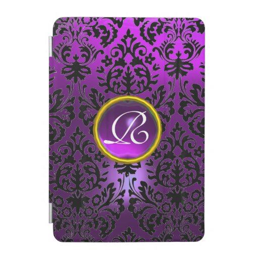 PURPLE BLACK DAMASK YELLOW GEM MONOGRAM Floral  iPad Mini Cover