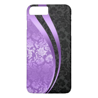 Purple & black damasks dynamic Wavy Stripes iPhone 7 Plus Case