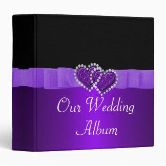 Purple & Black Diamond Locking Hearts Wedding Binder