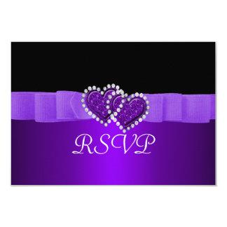 Purple & Black Diamond Locking Hearts Wedding Card