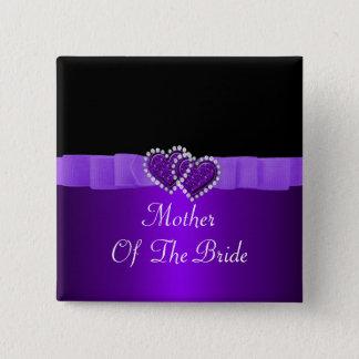 Purple & Black Diamond Locking Hearts Wedding Pinback Button