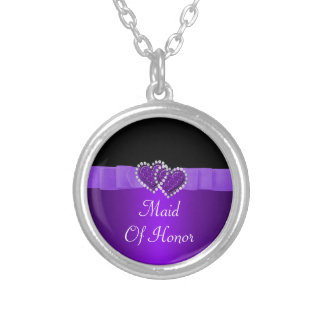 Purple & Black Diamond Locking Hearts Wedding Silver Plated Necklace