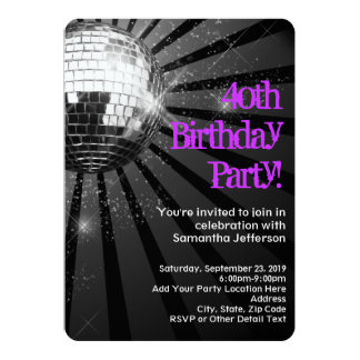 "Purple/Black Disco Ball 40th Birthday Party 5"" X 7"" Invitation Card"