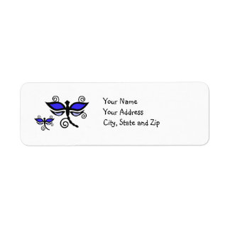 Purple & black Dragonflies on yellow address label
