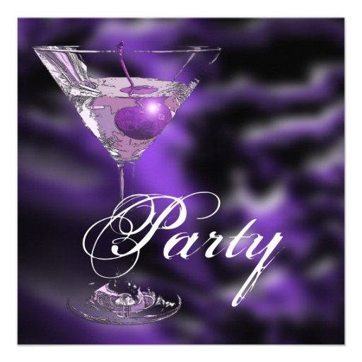 Purple black elegant formal party custom announcements