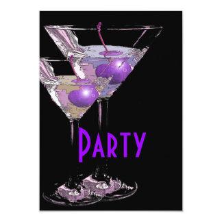 Purple black elegant party 5x7 paper invitation card