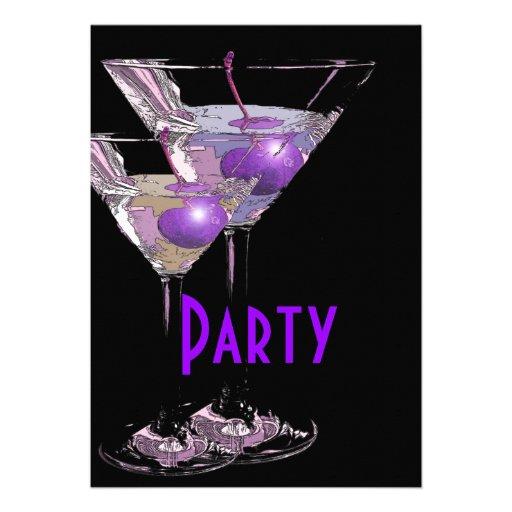 Purple black elegant party announcements