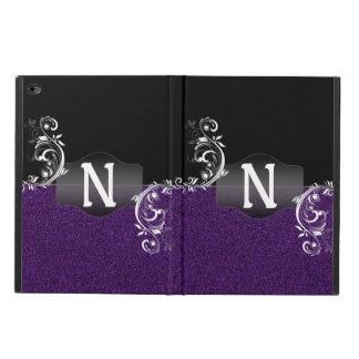 Purple Black Faux Glitter Classy Flourish Monogram Powis iPad Air 2 Case