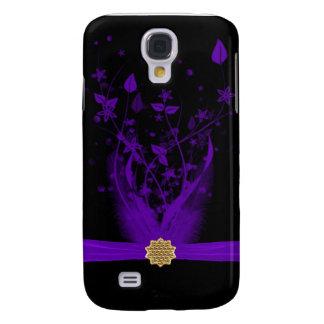 Purple & Black Feather Floral Samsung S4 Case