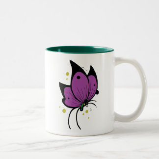 Purple Black Filled Freckled Butterfly Two-Tone Mug