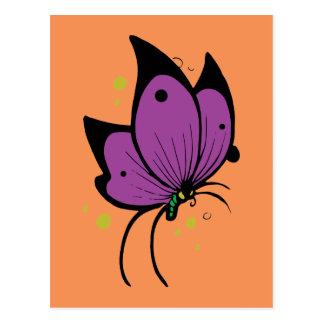 Purple Black Filled Freckled Butterfly Postcard