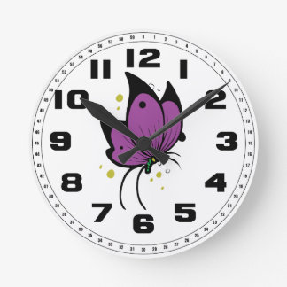 Purple Black Filled Freckled Butterfly Round Clock