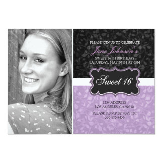 Purple & Black Floral Design Photo Sweet16 Invite