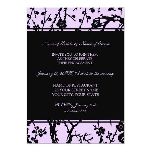 Purple Black Floral Engagement Party Invitations