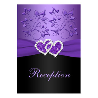 Purple, Black Floral Joined Hearts Enclosure Card Large Business Card