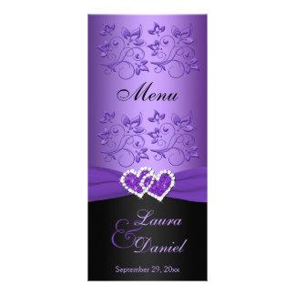 Purple, Black Floral Joined Hearts Menu Card