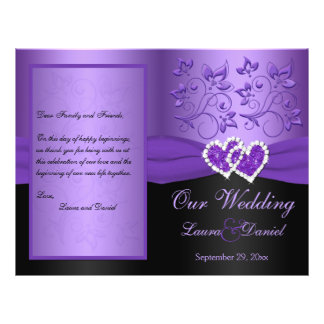 Purple, Black Floral Joined Hearts Wedding Program