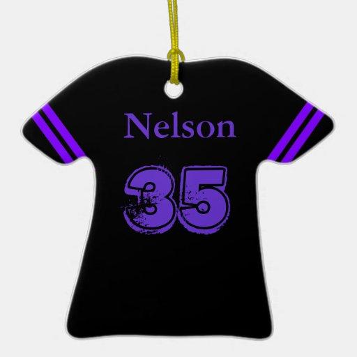 Purple & Black Football Tee Ornament