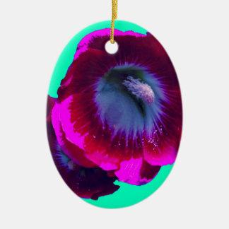 Purple-Black garden Hollyhocks by SHARLES Double-Sided Oval Ceramic Christmas Ornament