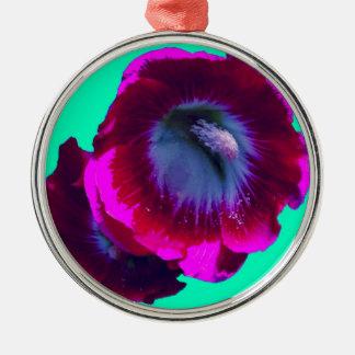 Purple-Black garden Hollyhocks by SHARLES Round Metal Christmas Ornament
