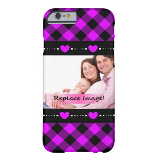 Purple Black Gingham Hearts Dots Picture Frame Barely There iPhone 6 Case