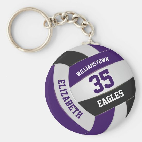 purple black girls boys team colors volleyball keychain