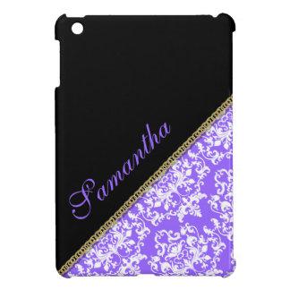 Purple black girly damask iPad mini case