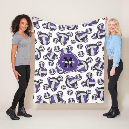 purple black girly volleyball team colors monogram fleece blanket