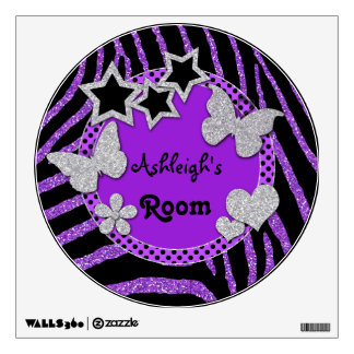 Purple Black Glitter LOOK Zebra Wall Decal