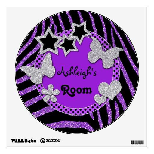 Purple Black Glitter LOOK Zebra Wall Decal