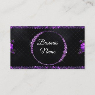 Purple & Black Glitter Rhinestone Beauty Business Card
